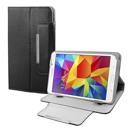 eFabrik Kunstleder Schutz Tasche für Samsung Galaxy T230 Tab 4 Hülle Schutzhülle Hülle Cover Schutztasche Stand-Funktion hochwertige Leder-Optik schwarz