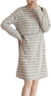 [ボアソルチ] 授乳服 前開き 授乳口付き ワンピース 長袖 マタニティ ウエア