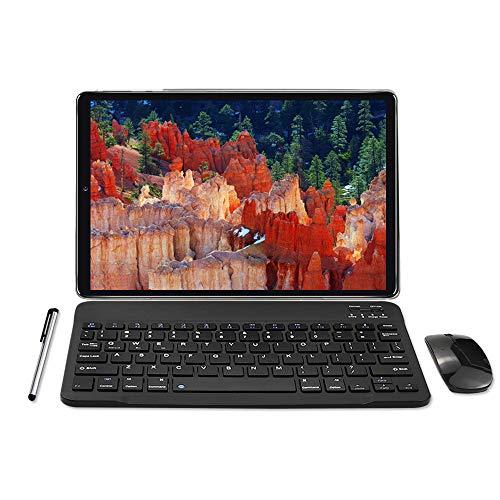 Tablet 10 Zoll Android 10.0 - YOTOPT 4G LTE Tablet PC, Octa-Core 1.6Ghz SC9863, 4GB RAM, 64GB ROM mit Tastatur Maus Und Zubehör, Dual SIM, WLAN, GPS, Bluetooth, Schwarz