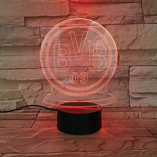 WCSMQT BVB Football Club 3D Nachtlicht Kindergeschenk LED-Nachttischlampe Touch mit USB-Datenkabel Schlafzimmerdekoration 7 Farben