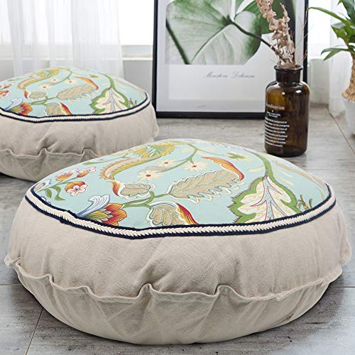 Boho Floor Pillow Meditation Cushion, 22' Large Floor Cushions Round Bohemian Meditation Pillow with Removable Pillow Case Cotton Linen Comfortable Seating Cushion for Living Room Garden Patio