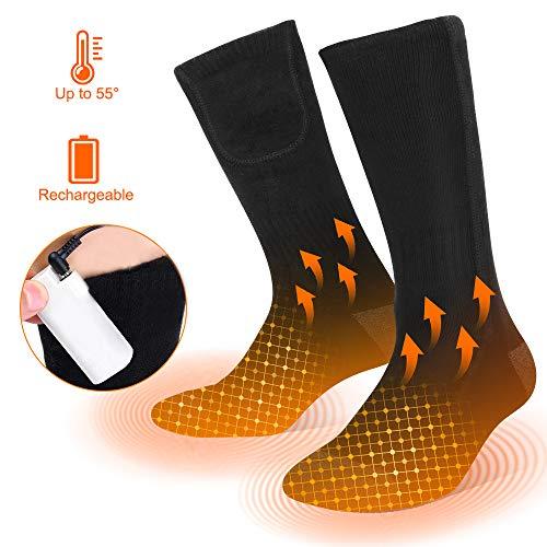 Vivibel verwarmde sokken voor mannen en vrouwen, zwart katoen, skisokken, sportsokken, 3 versnellingen, verwarmbare sokken voor wintersport