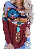 Damen-Sweatshirt, Ethno-Stil, Farbblock, Pullover, lässig, lange Ärmel, Rundhalsausschnitt, Bluse,...