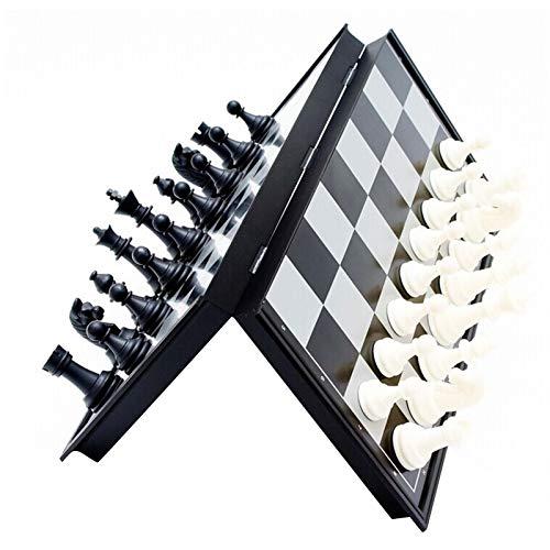 Dinapy Juego de tablero de ajedrez, juego de ajedrez magnético de viaje, juego de ajedrez, juego de ajedrez magnético (negro, blanco)
