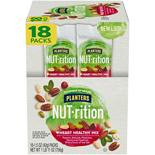 PLANTERS NUT-rition Heart Healthy Mix, 1.5 oz Bags (Pack of 18) | On-the-Go Snack, Work Snack, School Snack | Camping Snack and Active Lifestyle Snack | Satisfying Nut Mix | Kosher Certified