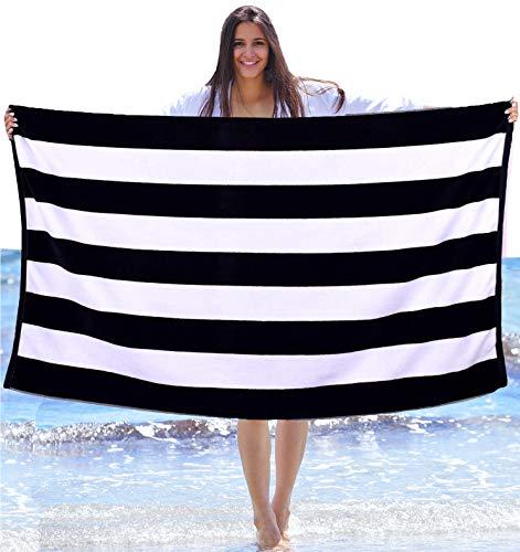 Consumable Depot Strandtuch, 100% Baumwolle, Cabana, gestreift, hergestellt in der Türkei schwarz/weiß