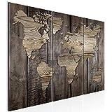 Runa Art 035032b - Imagen de mapamundi para sala de estar, XXL, aspecto de madera, 90 x 60 cm, 3 piezas, decoración de pared