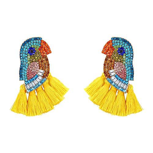 EVER FAITH Papagei Quaste Ohrringe, Crystal Boho baumeln Süß Vogel Ohr Stecker für Damen Statement Gelbe Quaste