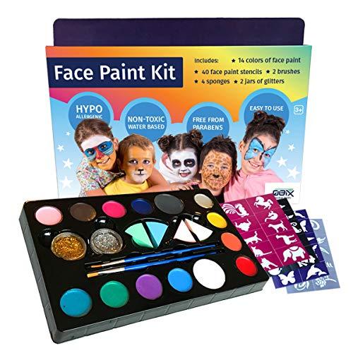 QBIX Juego Completo de Pintura Facial 14 Colores Que Incluyen Purpurina, Pinceles y esponjas - Pintura a Base de Agua no tóxica