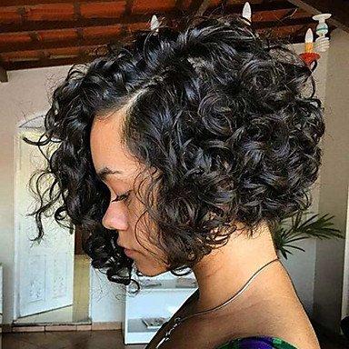 Perruque de cheveux humains brésiliens avec dentelle frontale de 130 % de densité avec cheveux de bébé bouclés Châtain moyen Marron