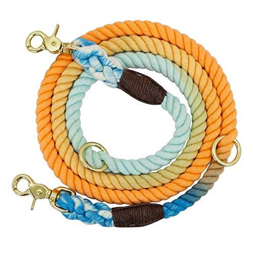 6Ft Durable Hundeleine Round Cotton Hunde Führstrick Außen Pet Training führt Seile Leinen kshu (Color : Blue and Orange, Size : 180cm)