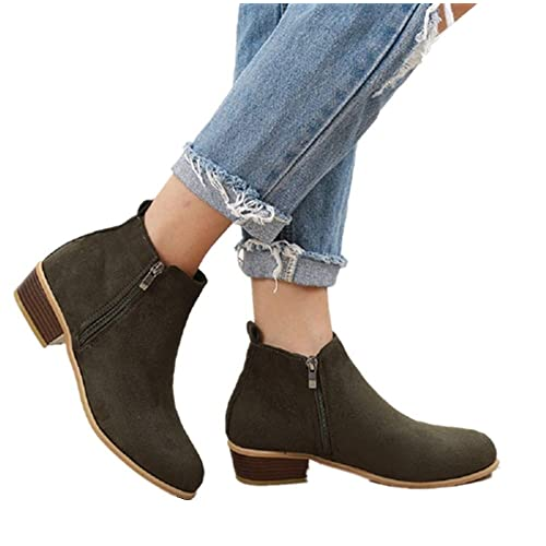 ffa790105 Ankle Boots Women Flat Heeled Winter Block Heel Suede Leather Chelsea  Ladies Chunky Casual Comfortable Zip