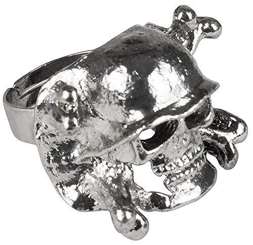 Totenkopf Skull Ring - Silber - Accessoire Pirat Seeräuber Punker Rocker Gevatter Tod Kostüm Halloween Fasching Mottoparty
