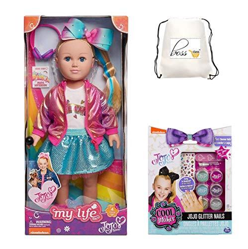 Kids Girls JoJo Siwa (Bonus Poppin Punch Lip Gloss) Closet Doll 18in with Gittler Nails Set of 2