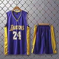 FJH 男子バスケットボールジャージースーツ、NBAレイカーズ24#コービー・ブライアントレトロバスケットボールシャツ夏のバスケットボールユニフォーム刺繍バスケットボールスーツ、ファンは見逃してはなりません (Color : Purple, Size : 3XL)