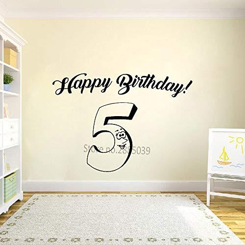 Hllhpc Grappige verjaardagskaart van vinyl, motief: vijf jaar sticker kunst 5 getallen muurstickers van vinyl 46 x 32 cm
