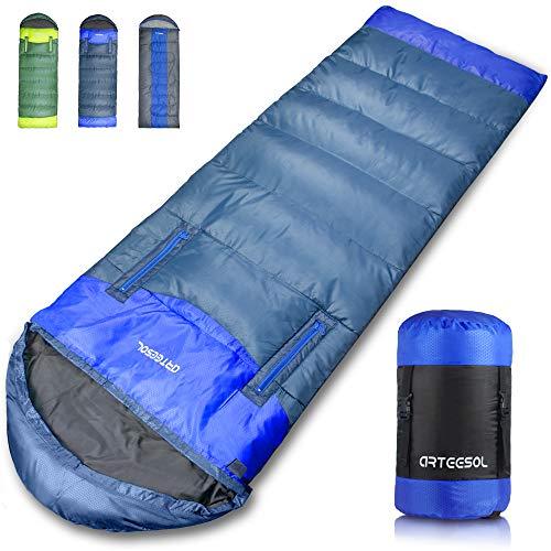arteesol Schlafsack, Leichtgewicht Warm wasserdichte Mumienschlafsack Hohle Baumwollfüllung für Kinder, Jugendliche, Erwachsene 6 Jahreszeiten Camping, Wandern, Outdoor