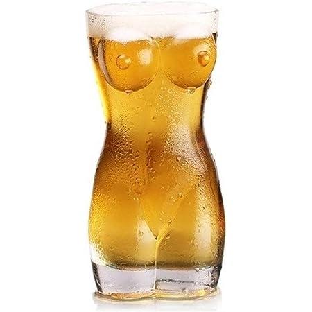 ライフ小屋 人体カップ 透明ガラス おもしろ食器 ビールグラス ビールジョッキ インテリア 筋肉 マグカップ 食洗機対応 誕生日ギフト (size ミドル (女性))