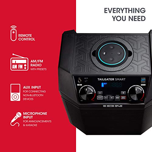 ION 50W Outdoor Echo Dot Speaker Dock/Portable Alexa Accessory With Bluetooth Connectivity and 50 Hour Rechargeable Battery-Tailgater Smart