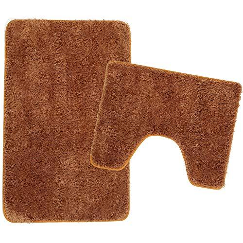 Poligono Juego de alfombrillas de baño de 2 piezas de microfibra, alfombra de 50 x 80 cm, alfombrilla para WC Water Forma rectangular 40 x 50 cm, antideslizante, lavable a máquina, marrón claro