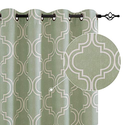 JINCHAN Room Darkening Curtains 84 Inch Length Sage Window Curtains for Bedroom Living Room 2 Panels Black Outlet Curtains Out Drapes Moroccan Tile Printed Grommet Top Window Treatment Set