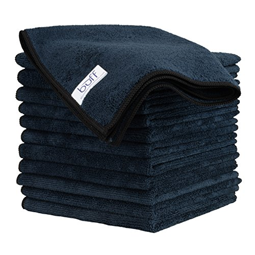 Buff Microfiber Cleaning Cloth | Black (12 Pack) | Size 16' x 16' | All Purpose...