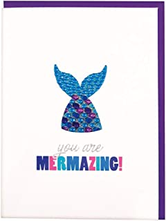 iscream Colorful 'You are Mermazing' Greeting Card with Removable Rhinestone Mermaid Decal and Envelope