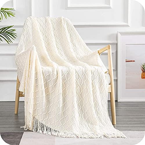 Topfinel Wohndecke Fransen-Design Gestrickt Gitter-Design Sofadecke Bequem Weich Warm Wohndecke Sahne 130x150 cm