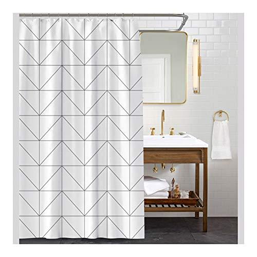 Douchegordijn met 12 haken badkamergordijn voor badbad en douchecabine waterdicht en schimmelbestendig gewogen zoom witte doek zwarte lijnen