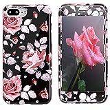Funda iPhone 7 Plus/8 Plus + Protector de pantalla, ZXK CO Fundas Protectiva Carcasa de Silicona Gel Suave Cover Case con Patrón de Flores Anti-Arañazos Cover