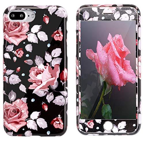 iPhone 7 Plus Hülle Case + Panzerglas, iPhone 8 Plus Hülle Blumen, ZXK CO Blumen Hülle Flexible TPU Silikon Handyhülle Schutzhülle Soft Case+9H Härte Tempered Glass