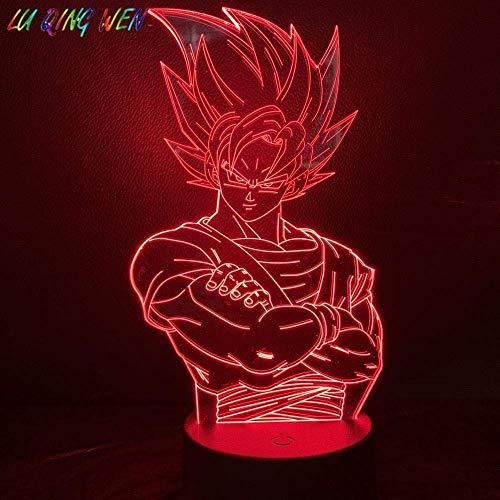 Lámpara De Ilusión 3D Luz De Noche Led Niños Dragon Ball Z Goku Para Decoración De Dormitorio Infantil Saiyan Mejor Cumpleaños Para Niños