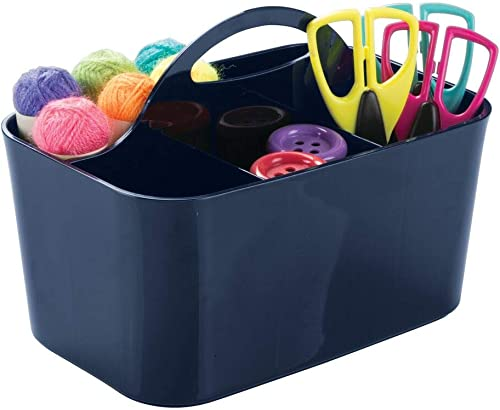 mDesign Plastic Portable Craft Storage Organizer Caddy Tote, Divided Basket Bin for Craft, Sewing, Art Supplies - Hol...