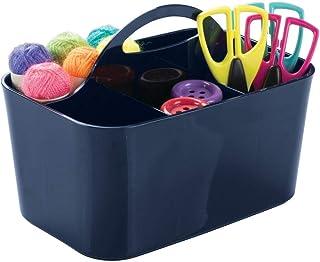 mDesign boîte de rangement en bleu marine pour fournitures loisirs créatifs et ustensiles de bricolage – parfait pour rang...
