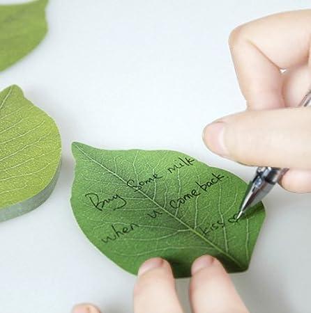 1 unidad Bloc de notas adhesivas con forma de hojas verdes Happy Star/®