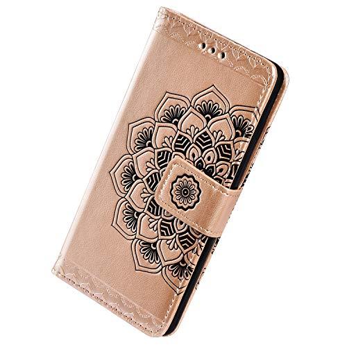 Herbests Kompatibel mit Samsung Galaxy A40 Hülle Schutzhülle Leder Hülle Retro Mandala Blumen Muster Handyhülle Tasche Klapphülle Wallet Flip Case Magnet Ständer Kartenfächer,Gold