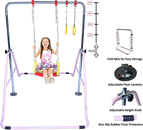 ToyKraft Kids Gymnastics Bar Horizontal Kip Bar 3 in 1 Deluxe Swing Set, Trapeze Rings Jungle Gym Playground Set Adjustable Monkey Bars Expandable Junior Children Training Bar Indoor Outdoor Foldable Pink