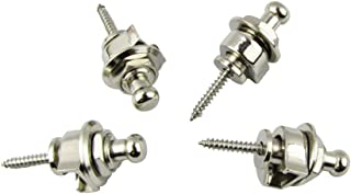 Musiclily Guitar Bass Schaller-Style Security Straplocks Round Head Strap Locks and buttons, Chrome (4 Pack)