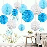 Himeland 12x Blau Wabenball Set, Pompoms Honigwaben (Papier Kugel) Kit für Hochzeit/Baby Shower/Party/Geburtstag, als Tischdeko/Raumdeko/Wohnungdeko