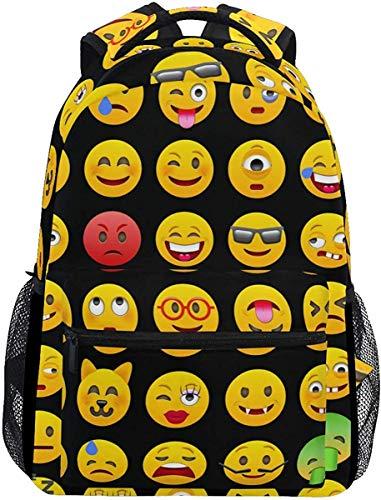 G.H.Y Mochila Escolar con Estampado de Moda Mochila Informal de Viaje Ligera para computadora portátil Emoticonos Emoticones Mochilas Escolares Mochila para Mujeres Hombres Niñas Adolescentes