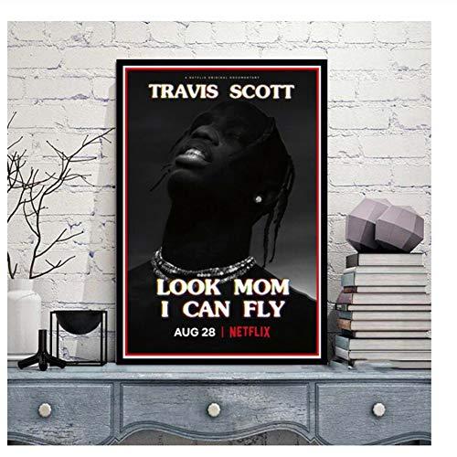 Suuyar Poster Travis Scott Look Mom Ich Kann Fliegen Film TV Show Serie Malerei Kunst Wandbilder Für Wohnzimmer Wohnkultur-50x70 cm Kein Rahmen