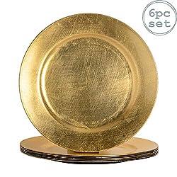 Argon Tableware Unterteller aus Gold - 6er Packung
