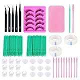 Eyelash Extensions Tool Kit – Stainless Steel Precision Tweezers Set, Disposable Eyelash Brushes, Eyelashes Extension Blossom Cups Ring Holders, Cup Rings, Cotton Swabs, Tapes, Eyelash Pad, Falses Eye