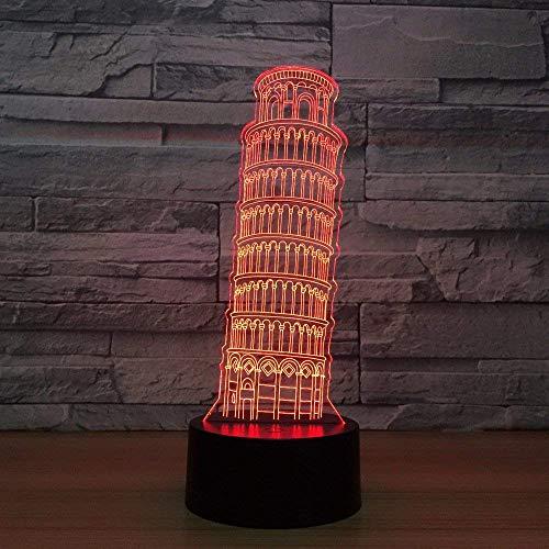 Torre Inclinada Lámpara De Ilusión Led 3D Luz Nocturna Mesita De Noche Óptica Luces Nocturnas 16 Cambio De Color Botón Táctil Decoración Lámparas De Escritorio,