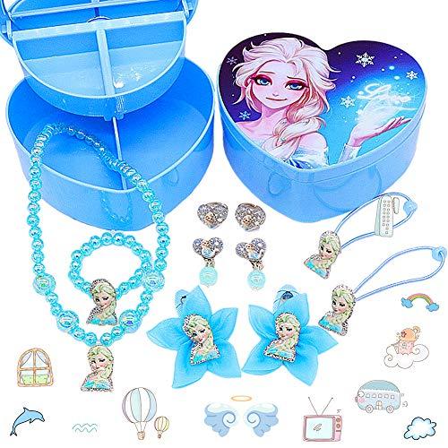 LMZZ Disney Frozen Set di gioielli 11pcs Regina di ghiaccio Gioielli Aisha (1pcs collana+1pcs Braccialetto+2pcs orecchino+2pcs Squillare+2pcs Elastico+2pcs Tornante+1pcs Scatola dell'amore pieghevole)