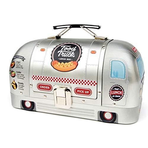 SUCK UK Food Truck Lunchpaket für Erwachsene | Kinder Brotdose | Lebensmittelbehälter, Metall (Zinn), Silber, 14 x 11.5 x 23 cm