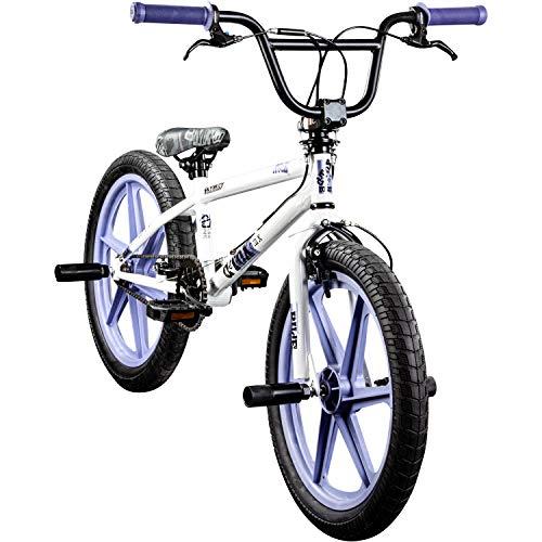 deTOX BMX 20 Zoll Rude Skyway Freestyle Bike Street Park Fahrrad viele Farben (weiß/lila)