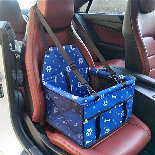 YAOUFBZ Upgraded Version Dog Booster Seat,Cat Puppy Pet Car Seat Carrier Travel Bag Cage Deluxe Portable with Clip-On Safety Leash and Zipper Storage Pocket (Blue-Footprint)