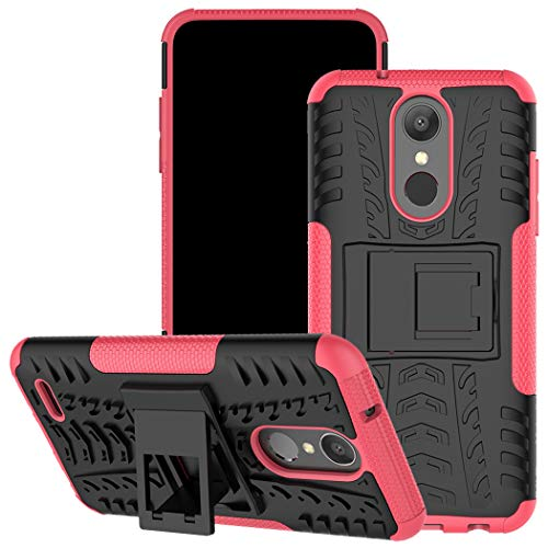 Viodolge Compatible with LG Aristo 2 Case, Tribute Dynasty/Zone 4/Fortune 2/ K8 2018 Case, Hybrid Tough Rugged Dual Layer Protective Phone Case Cover with Kickstand for LG Aristo 2 (Pink)