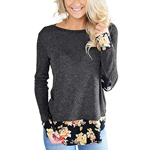 Buy Bargain Lovor Womens Long Sleeve Crew Neck Tops Floral Patchwork Blouse Basic Casual Tee Shirts(...